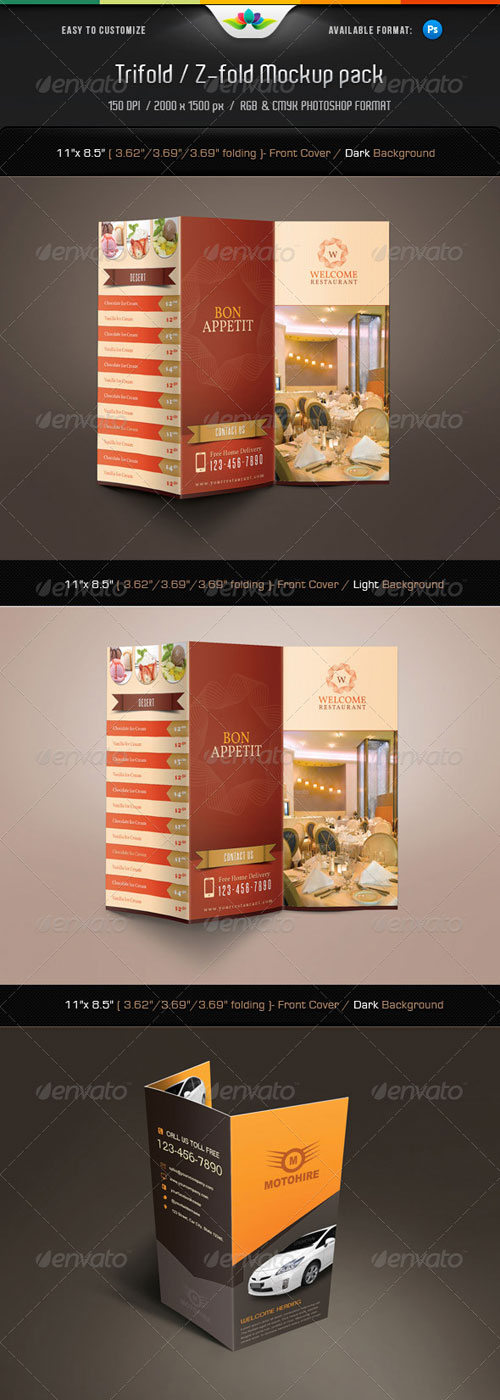 GraphicRiver Trifold & Z-fold Mock-Up Pack