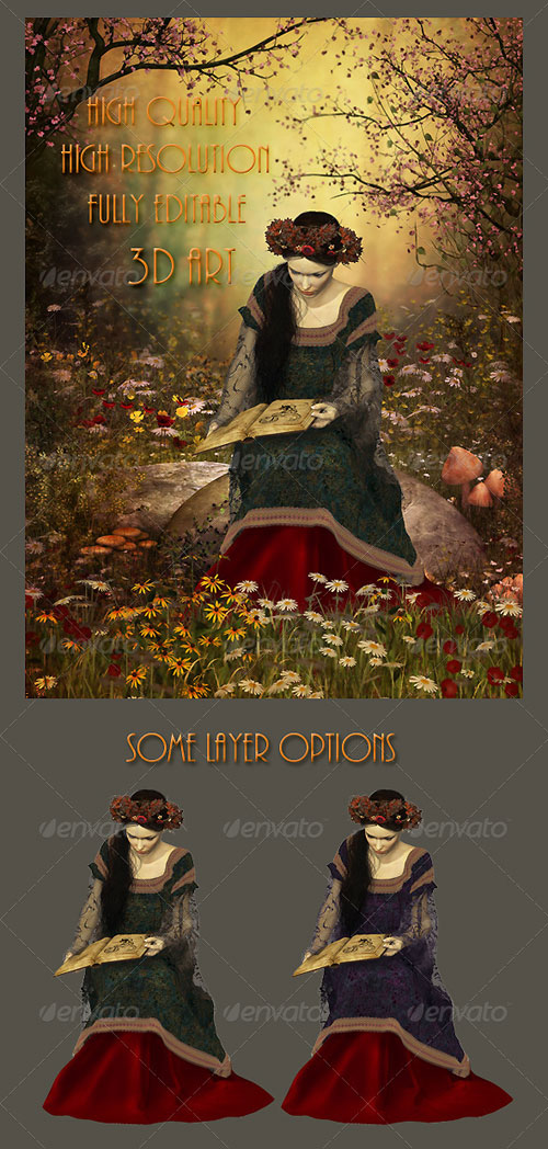 GraphicRiver A Woman Reading a Book