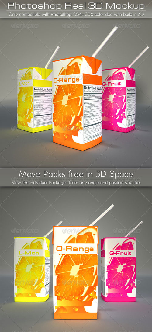 GraphicRiver Mini Juice Carton Tetra Pack Mockup