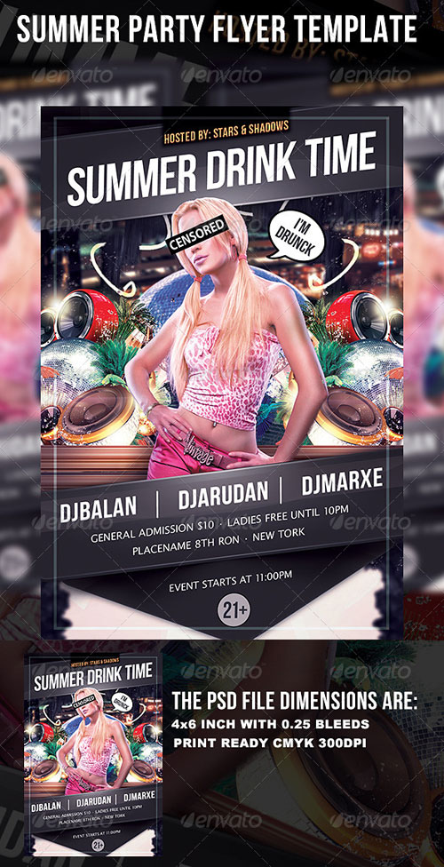 GraphicRiver Stars and Shadows Party Flyer Template