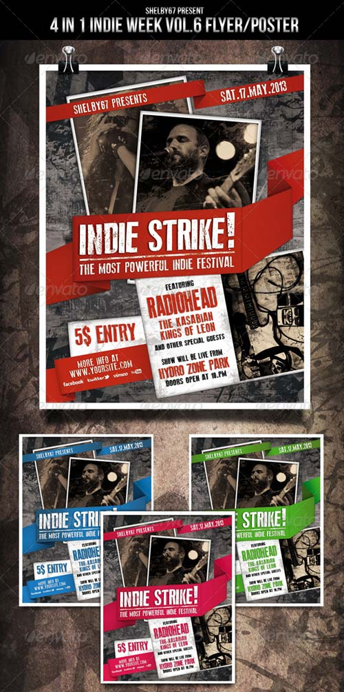 GraphicRiver Indie Week Flyer / Poster Vol.6 - 4 in 1