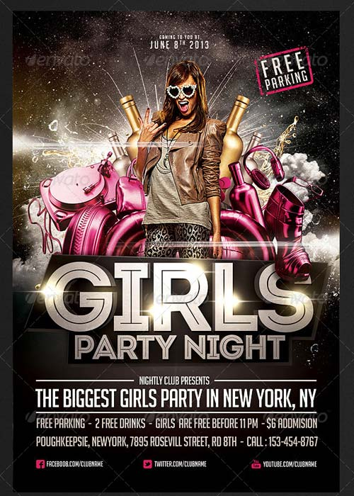 GraphicRiver Girls Party Night Flyer Template