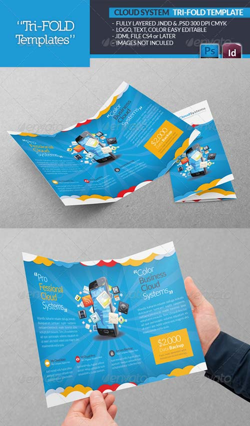 GraphicRiver Cloud Systems Tri-Fold Template