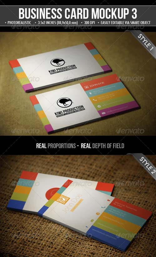 GraphicRiver 3 Realistic Business Card Mock-Up