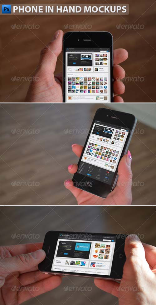 GraphicRiver Black Phone in Hand Mockups