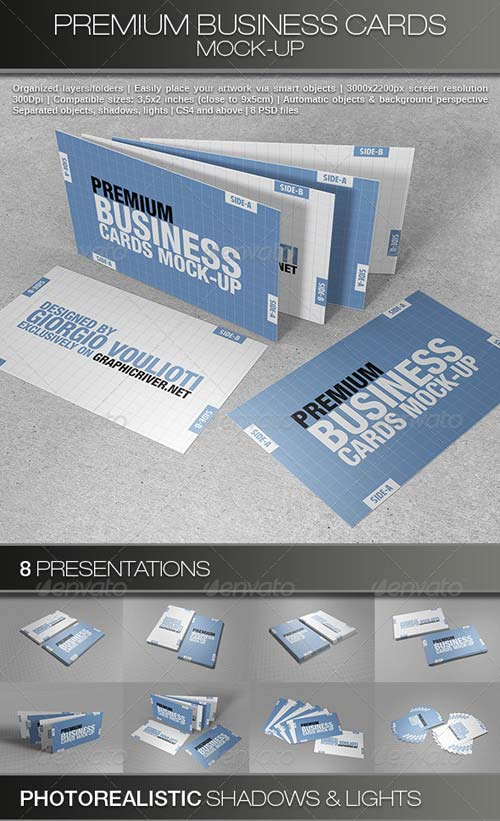 GraphicRiver Premium Business Cards Mock-Ups
