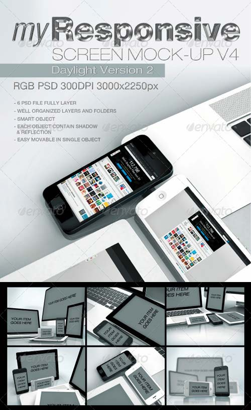 GraphicRiver myResponsive screen mock-up V4