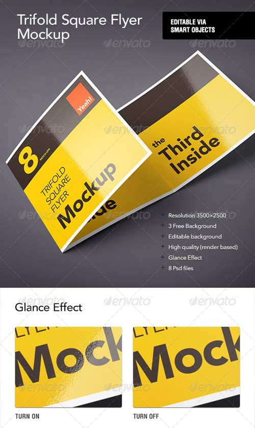 GraphicRiver Square Trifold Flyer Mock-Up