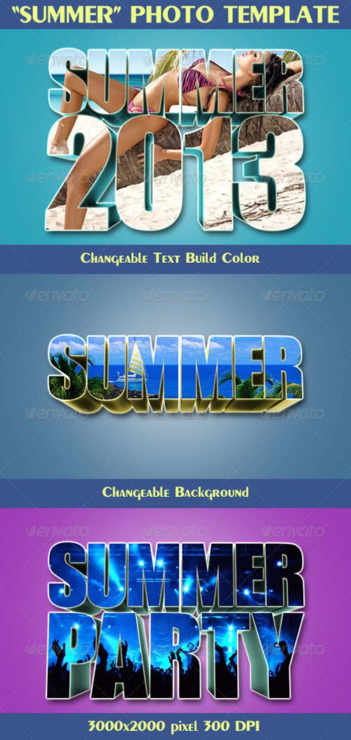 "GraphicRiver 3D Text Photo Template ""Summer"""