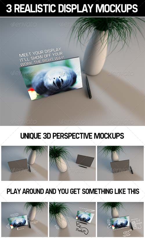 GraphicRiver 3 Realistic Display MockUps