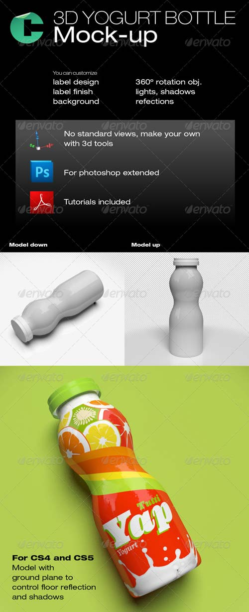 GraphicRiver 3d Object - Yogurt Bottle