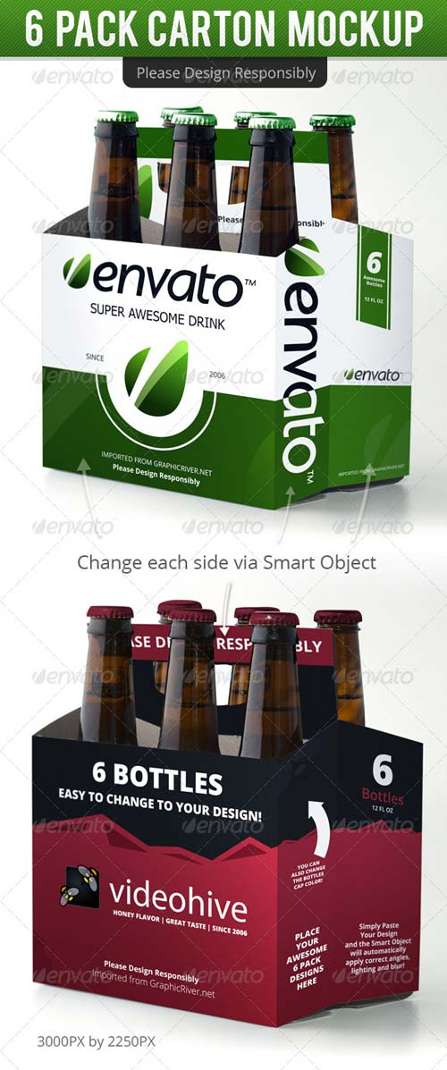 GraphicRiver 6 Pack Carton Mock Up