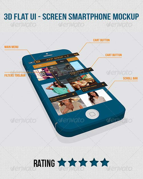 GraphicRiver 3D Flat UI - Screen Smartphone Mockup