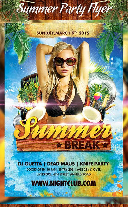 GraphicRiver Summer Break Party Flyer 4811423