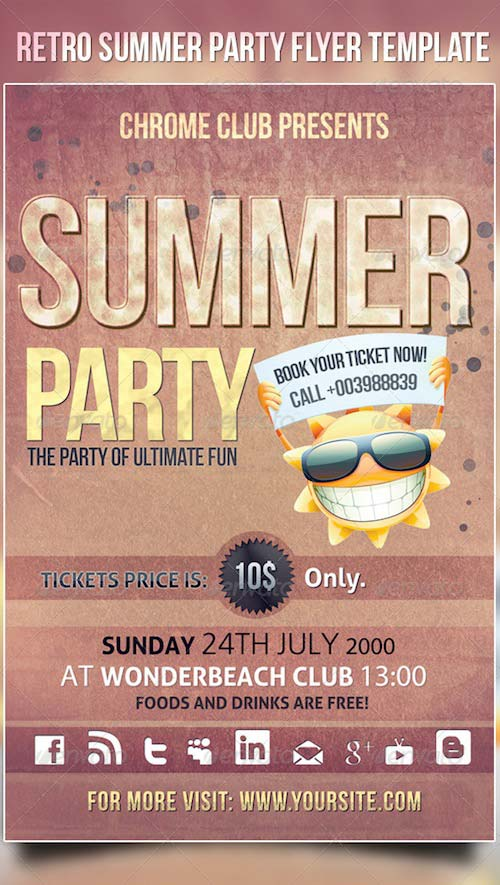 GraphicRiver Retro Summer Party Flyer Template