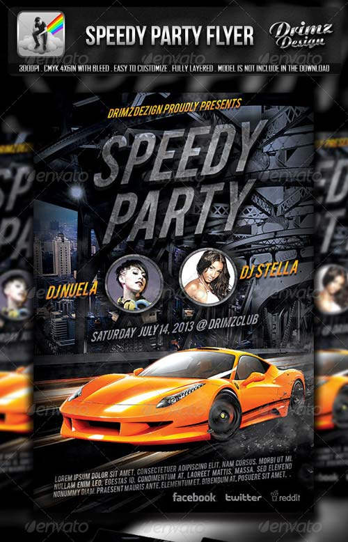 GraphicRiver Speedy Party Flyer