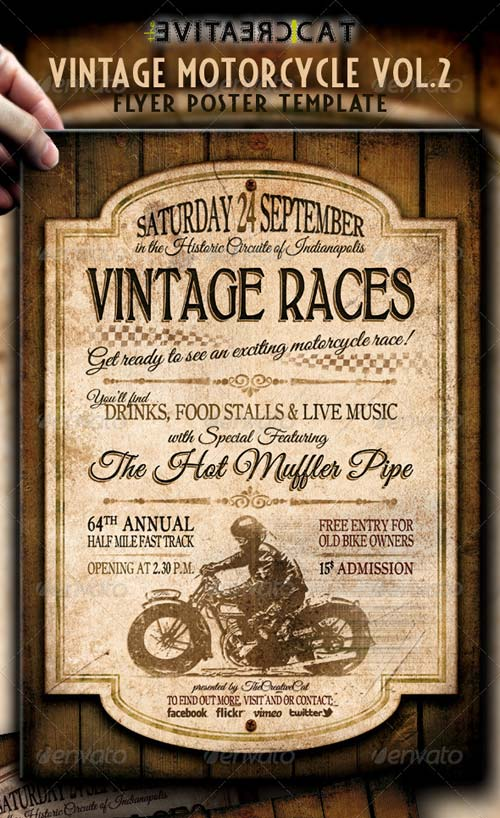 GraphicRiver Vintage Motorcycle Flyer/Poster Vol.2