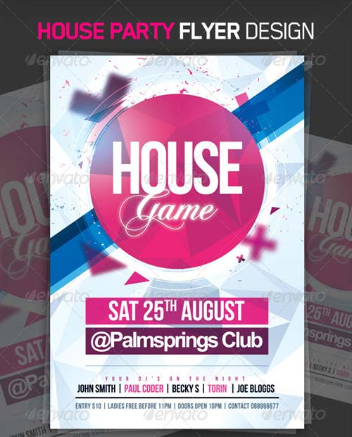 GraphicRiver House Game Party Flyer