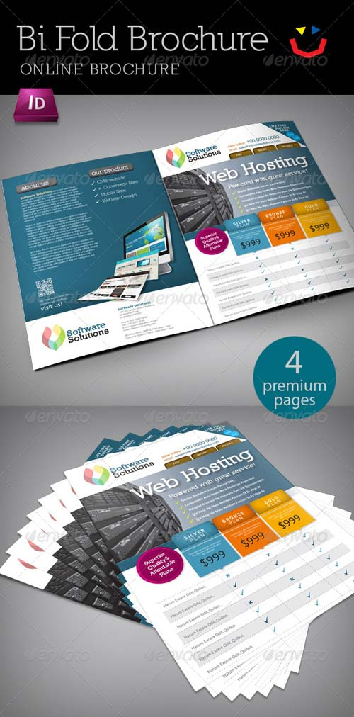 Graphicriver a4 bi fold internet brochure for Bi fold brochure template indesign
