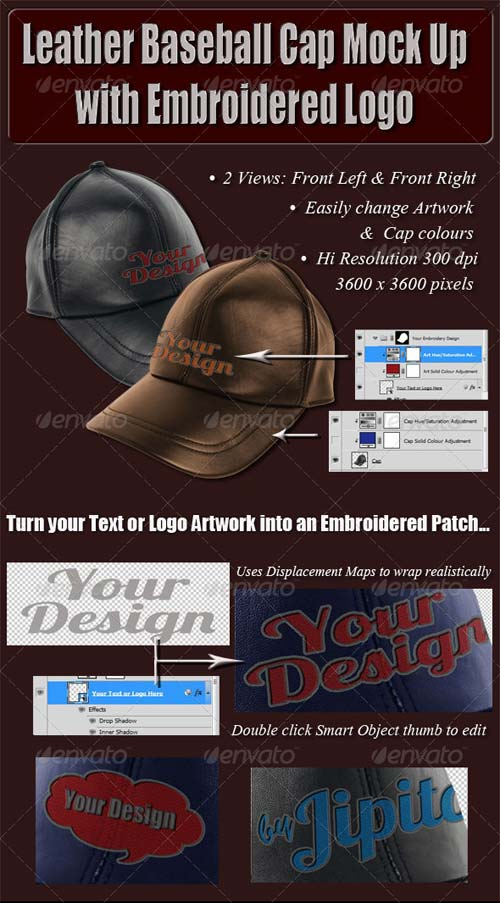 GraphicRiver Leather Baseball Cap Mock Up with Embroidered Logo