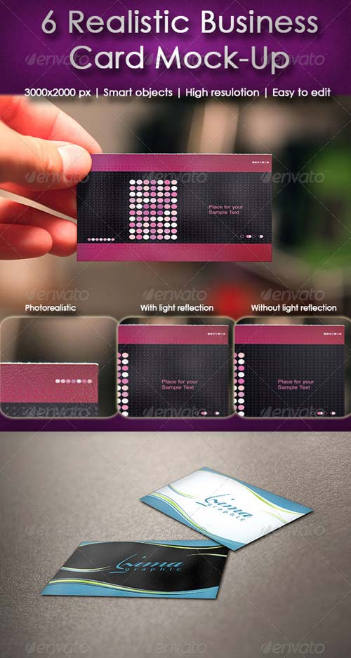GraphicRiver 6 Business Card Mock-up