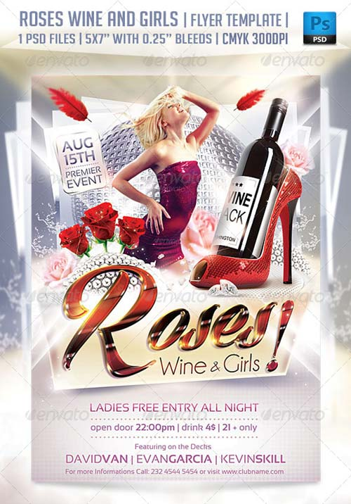 GraphicRiver Roses Wine and Girls Flyer Template