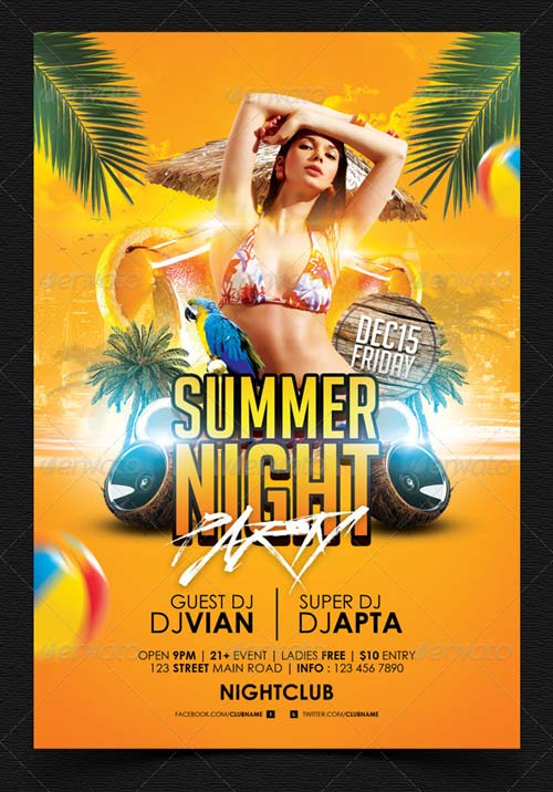 GraphicRiver Summer Night Party Flyer Template 4920459