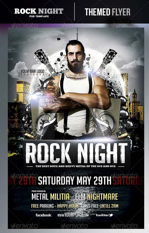 GraphicRiver Rock Night Flyer Template