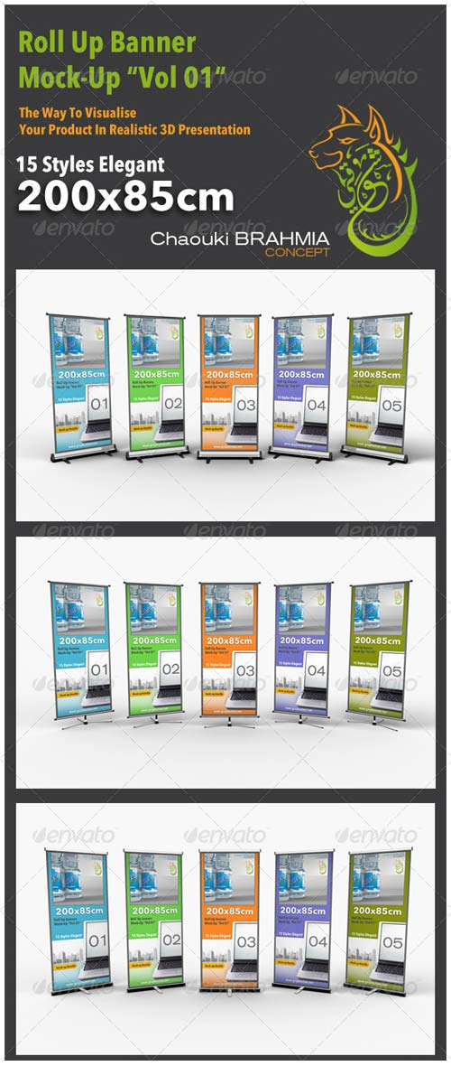 "GraphicRiver Roll Up Banner Mock-up ""Vol 01"""