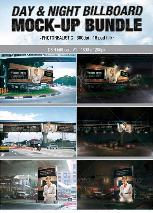 GraphicRiver Day & Night Billboard Mock-Up Bundle