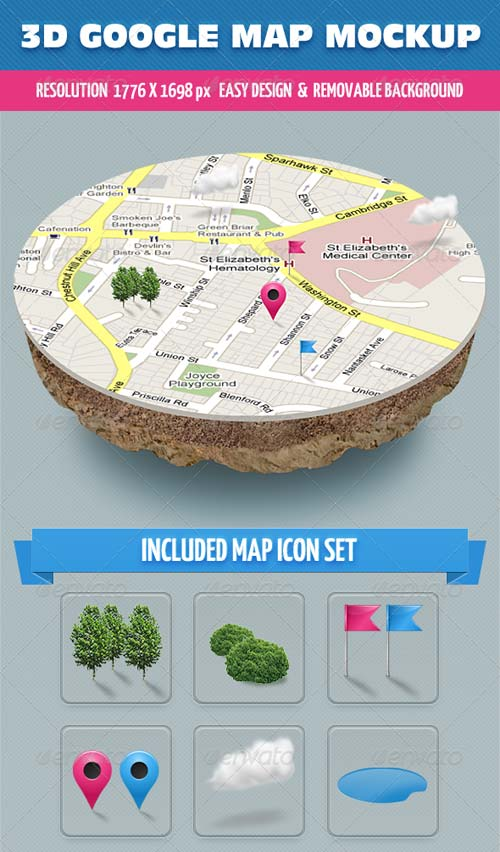 GraphicRiver 3D Map Mockup