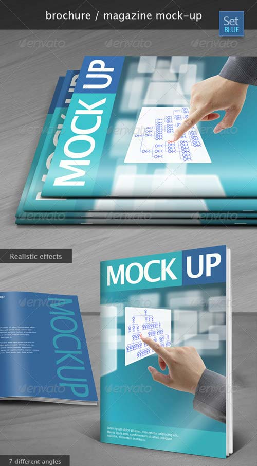GraphicRiver Brochure / Magazine Mock-up Set Blue
