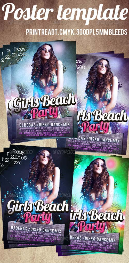 GraphicRiver Girls Beach Party Flyer