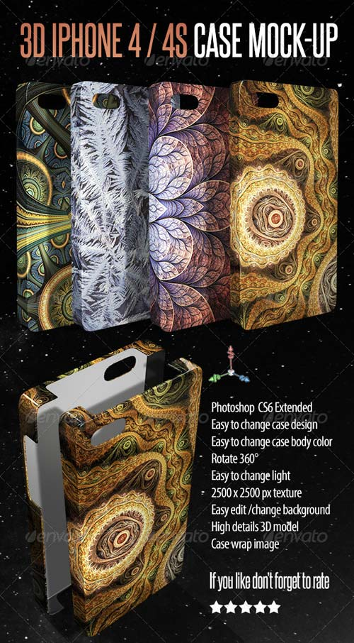 GraphicRiver 3D Phone 4 / 4S Case Mock-up