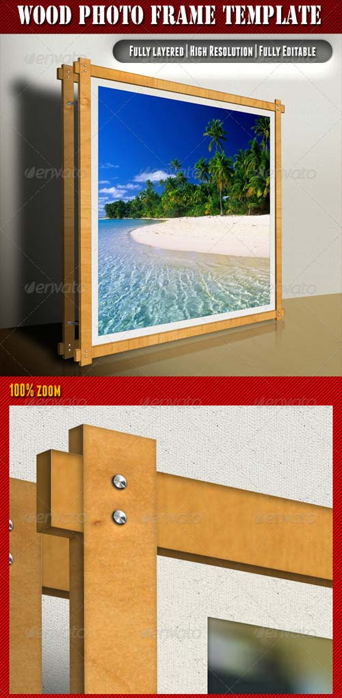 GraphicRiver Wood Photo Frame Template