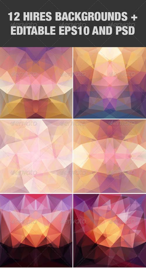 GraphicRiver Violet Abstract Triangular Backgrounds Set