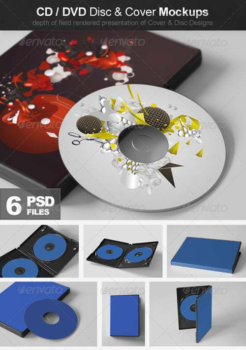 GraphicRiver CD/DVD Disc & Cover Mockups