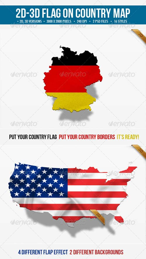GraphicRiver 2D & 3D Flag on Country Map