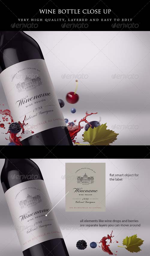 GraphicRiver Wine Bottle Close-up Mock-up with Fruits