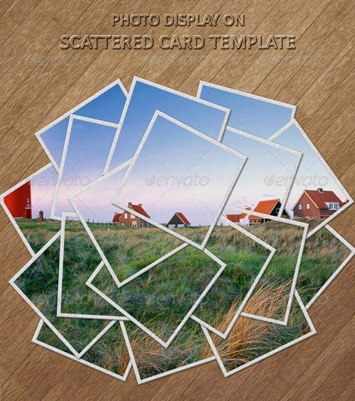 GraphicRiver Photo Display on Scattered Card Template