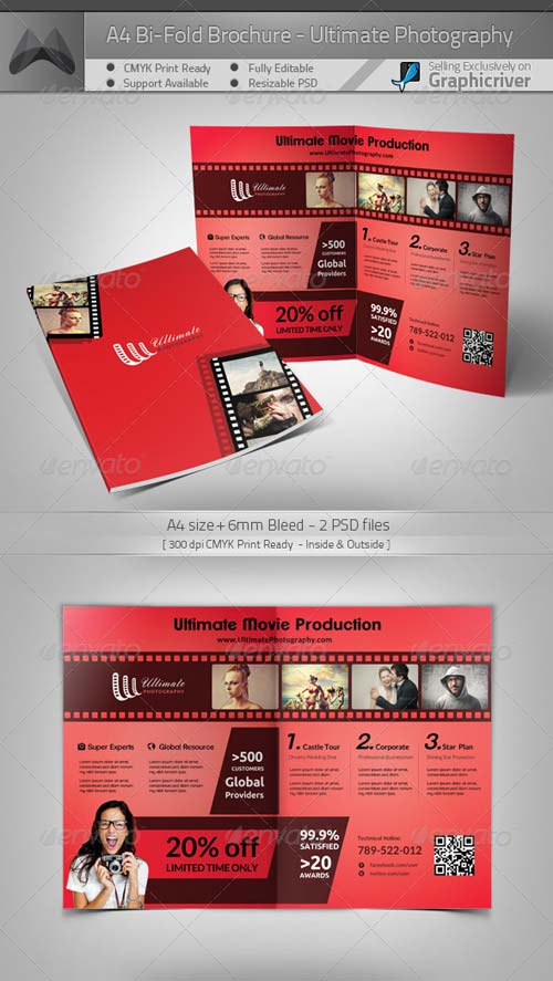 GraphicRiver Ultimate Movie/Photography - A4 Bi-Fold Brochure