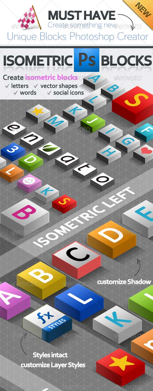 GraphicRiver 3D Isometric Blocks Photoshop Creator