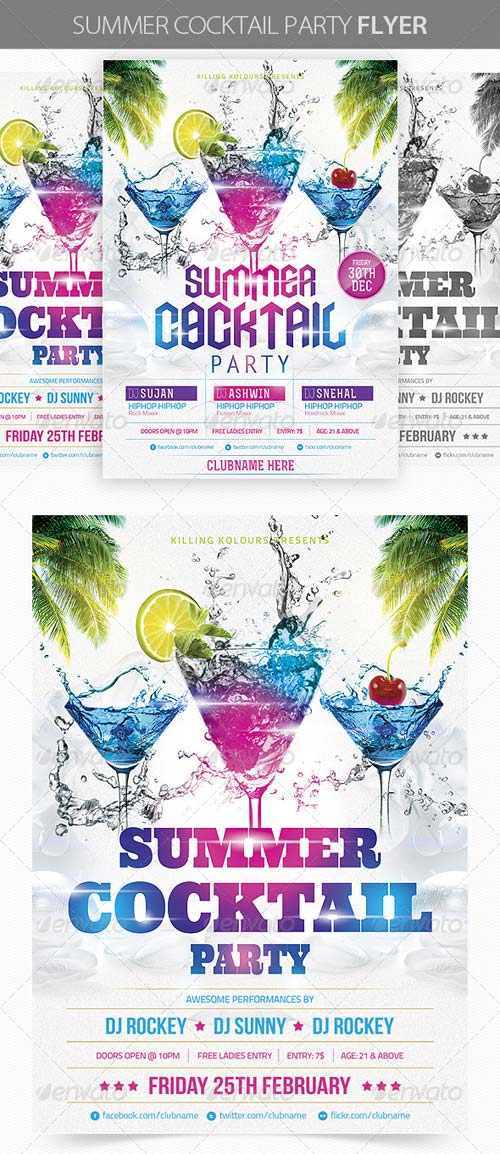 GraphicRiver Summer Cocktail Party Flyer