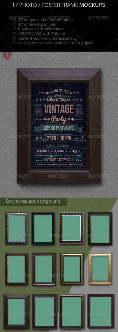 GraphicRiver 17 Photo / Poster Frame Mockup