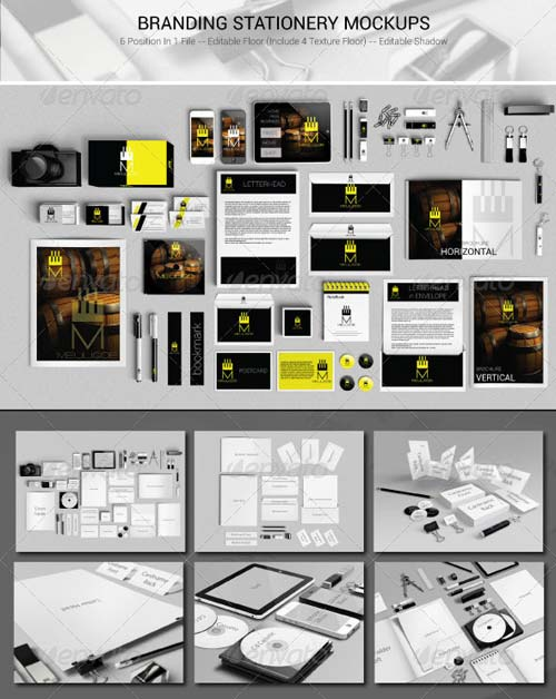 GraphicRiver Branding Stationery Mockups