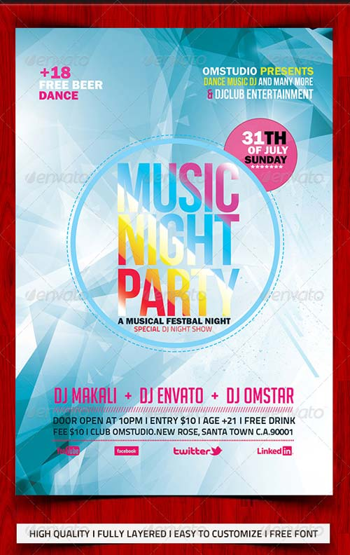 GraphicRiver Music Night Party Flyer Template 5108183