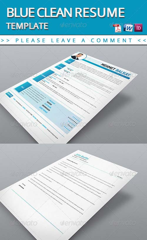 graphicriver blue resume template. Black Bedroom Furniture Sets. Home Design Ideas