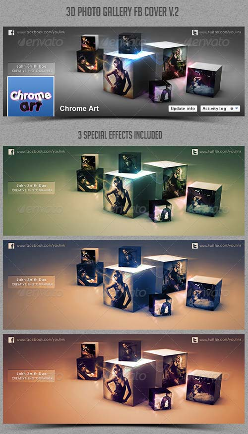 GraphicRiver 3D Photo Gallery FB Cover V.2