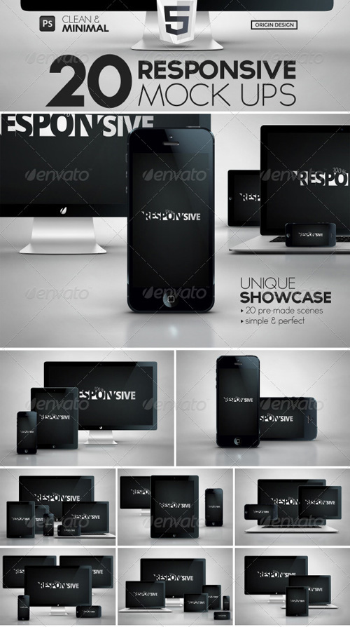 GraphicRiver 20 Responsive iScreens Mock Up Pack