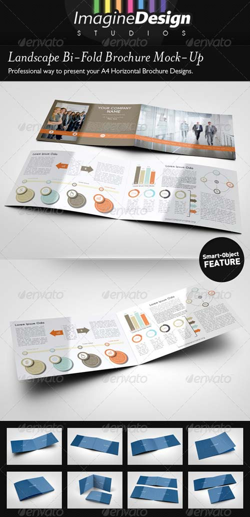 GraphicRiver Landscape Bi-Fold Brochure Mock-Up